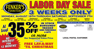 Fenker's Labor Day Sale